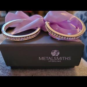 925 SS cubic zirconia hoop earrings